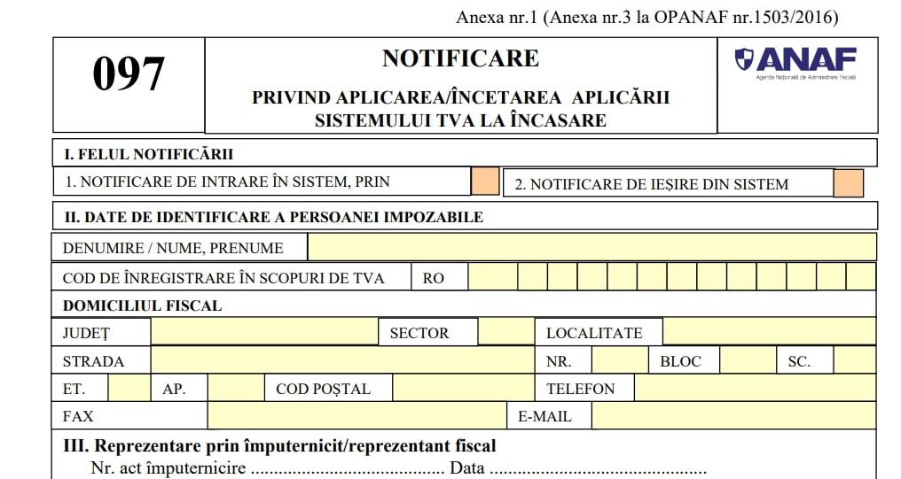 Miercuri, 20 octombrie 2021, este termenul limita de depunere a Formularului 097